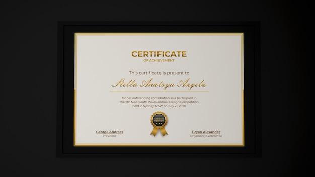 Rendering 3d design moderno del modello realistico del certificato in eleganti interni neri