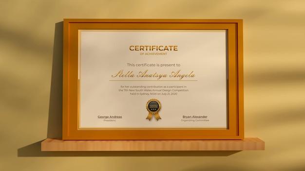 Rendering 3d certificato moderno realistico mockup design gold