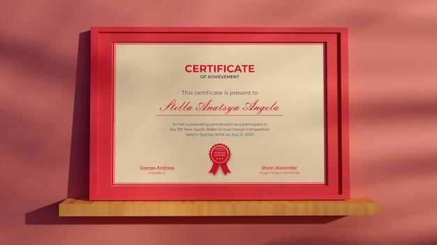 Rendering 3d certificato moderno mockup realistico design rosa