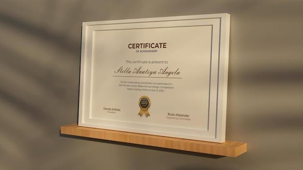 Rendering 3d progettazione realistica del modello del certificato moderno modern