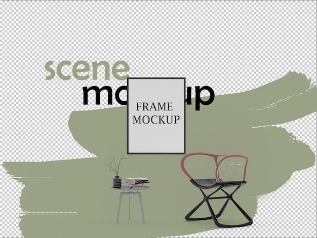 Rendering 3d mockup di sedia moderna e cornice per poster
