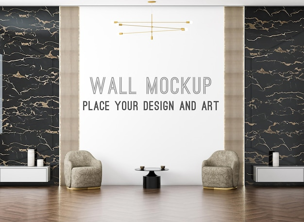 Rendering 3d moderno salotto di lusso e poltrona con mockup a parete su parete luminosa