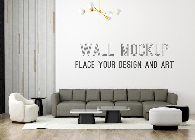 Rendering 3d moderno soggiorno minimale con mockup a parete e parete soppalcata