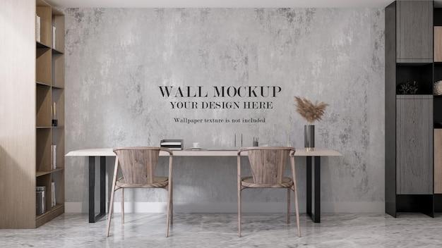 Mockup moderno della parete della stanza di studio della rappresentazione 3d