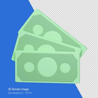 Rappresentazione 3d della banconota dei soldi isolata su bianco.