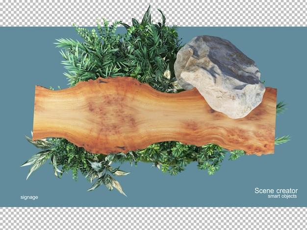 Rendering 3d di legno naturale con piante isolate