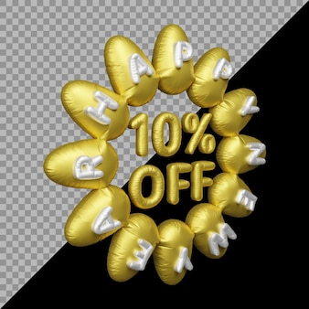 Rendering 3d dell'offerta di capodanno con il 10% di sconto sull'oro del palloncino