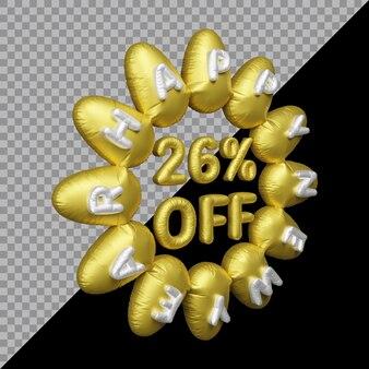 Rendering 3d dell'offerta di capodanno con il 26 percento di sconto sull'oro del palloncino