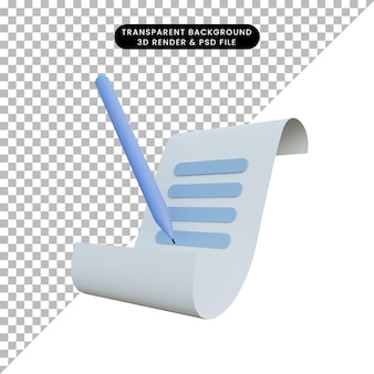 Rendering 3d di un'icona di nota con una penna