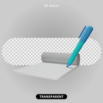 Note di rendering 3d e illustrazione della penna