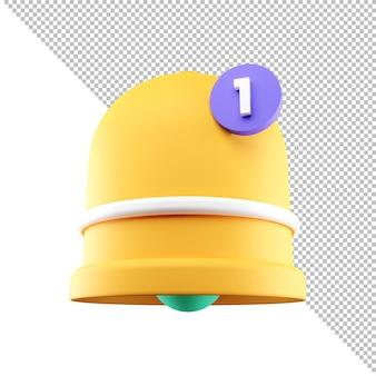 Messaggio di posta in arrivo dell'interfaccia utente dell'elemento dei social media dell'icona della campana di notifica del rendering 3d