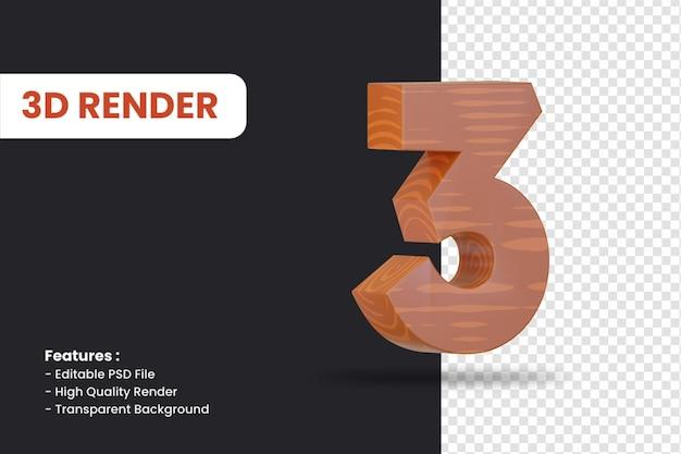 Rendering 3d del numero 3 con effetto texture legno isolato