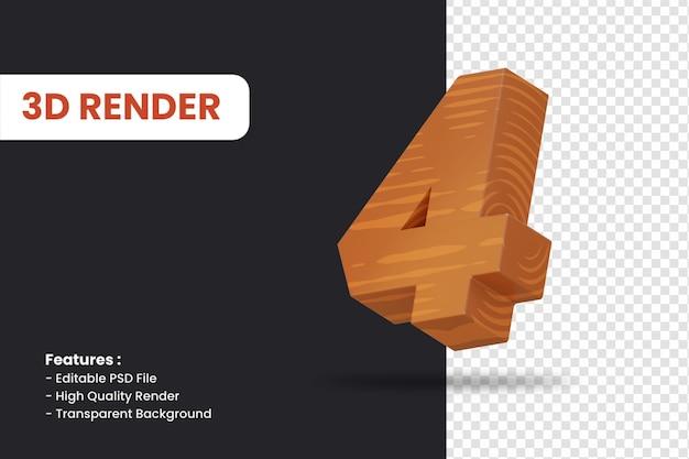 Rendering 3d del numero 4 con effetto texture legno isolato