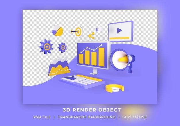 Marketing digitale di oggetti di rendering 3d