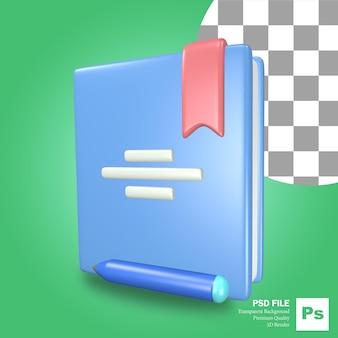 Libro blu dell'icona dell'oggetto di rendering 3d con una penna e una matita