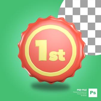 3d rendering icona oggetto rosso tappo di bottiglia pin con la prima iscrizione vincitore