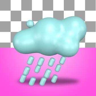 3d rendering icona oggetto meteo pioggia calore soleggiato pioviggine fulmine nuvoloso temporale