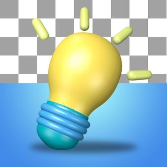 Icona dell'oggetto di rendering 3d dell'icona dell'idea della lampadina a energia gialla