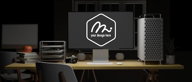 Rendering 3d dell'area di lavoro dell'ufficio con schermata di mockup del computer