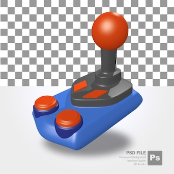 Rendering 3d del vecchio oggetto di controllo del joystick in blu e con una leva rossa