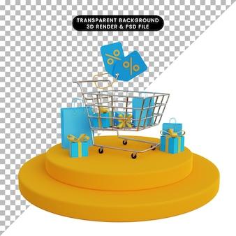 Carrello della spesa del negozio online di rendering 3d e sacchetto della spesa del contenitore di regalo