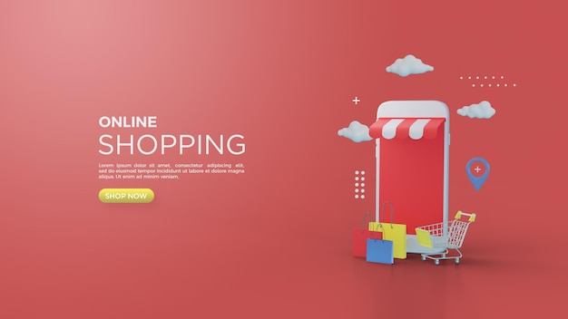 Rendering 3d di acquisti online per post o banner sui social media