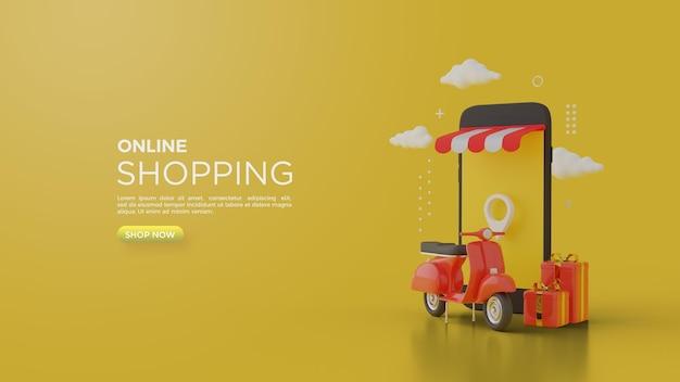 Rendering 3d dello shopping online per i social media con fresche sfumature gialle