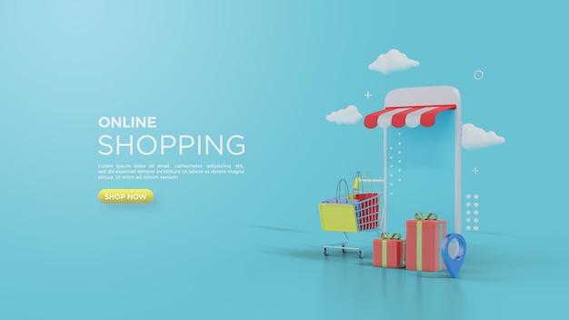 Rendering 3d dello shopping online per i social media con scatole regalo davanti ai negozi
