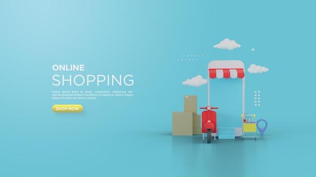 Rendering 3d dello shopping online per i social media con vespa merah e negozi di smartphone