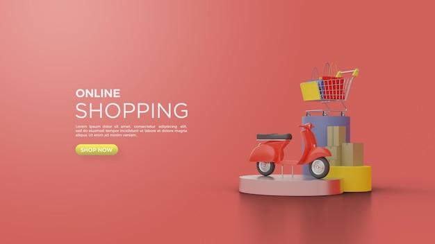 Rendering 3d di shopping online con illustrazioni di consegna con vespa