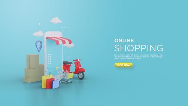 Rendering 3d dello shopping online con sfumature fresche e colori blu brillanti