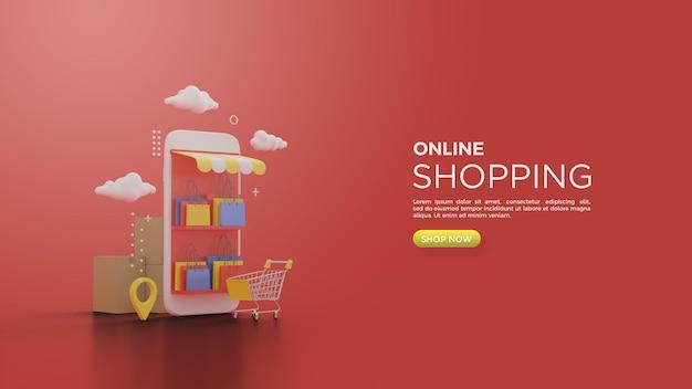 Rendering 3d di acquisti online con un'illustrazione di un carrello della spesa davanti a uno smartphone