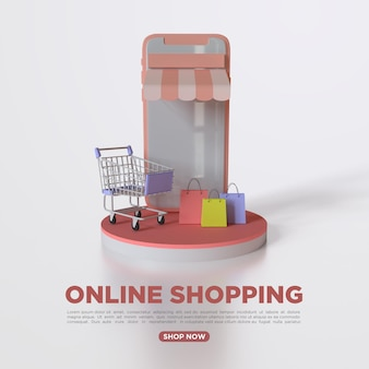 Rendering 3d shopping online con il cellulare per i social media