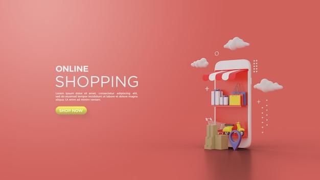 Rendering 3d di acquisti online con uno smartphone come un negozio