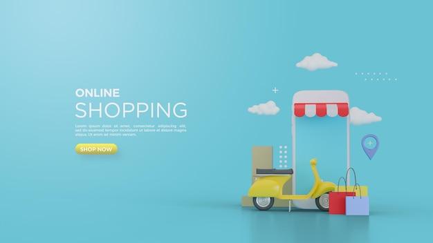 Rendering 3d di shopping online con vespa davanti al negozio