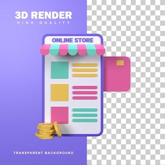 Concetto di negozio online di rendering 3d con più opzioni di prodotto sullo schermo.