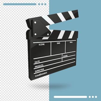 Rendering 3d del film aperto ciak o battaglio isolato