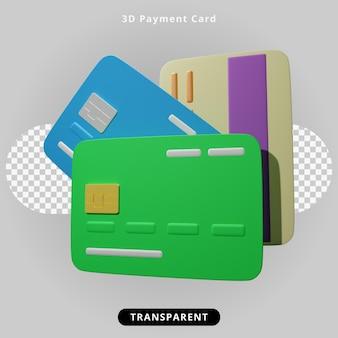 3d rendering illustrazione della carta di pagamento