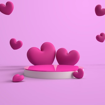 3d rendering podio rosa con dolce amore
