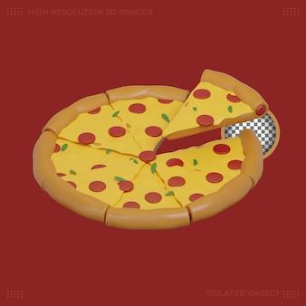 Immagine premium dell'icona del cibo della pizza 3d rendering