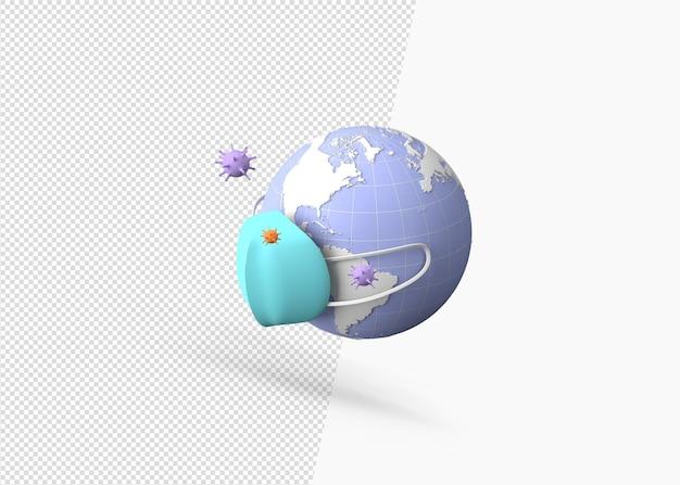 Rendering 3d del pianeta terra con una maschera medica