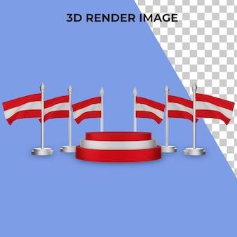 Rendering 3d del podio con il concetto di festa nazionale austriaca premium psd