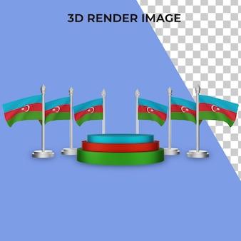 Rendering 3d del podio con il concetto di festa nazionale dell'azerbaigian premium psd