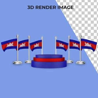 Rendering 3d del podio con il concetto di giornata nazionale della cambogia