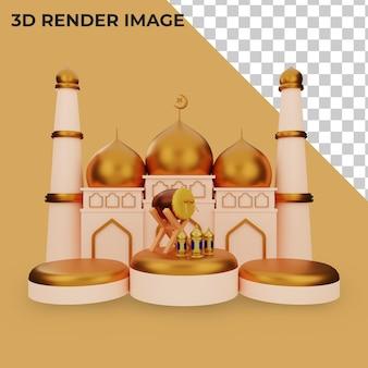 Rendering 3d del podio con concetto islamico
