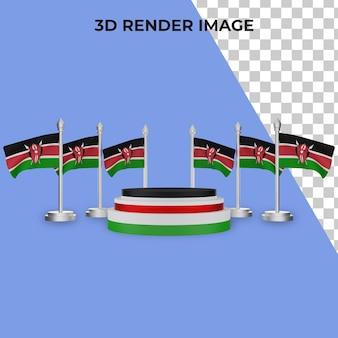 Rendering 3d del podio con il concetto di festa nazionale del kenya