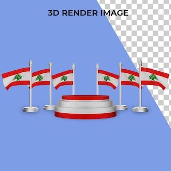 Rendering 3d del podio con il concetto di festa nazionale del libano