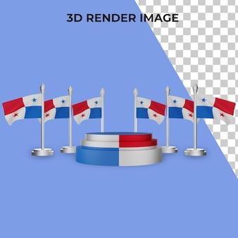 Rendering 3d del podio con il concetto di festa nazionale di panama