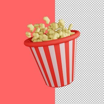 Rendering 3d dell'illustrazione di popcorn