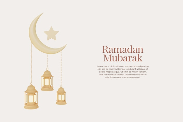 Rendering 3d biglietti di auguri ramadan kareem